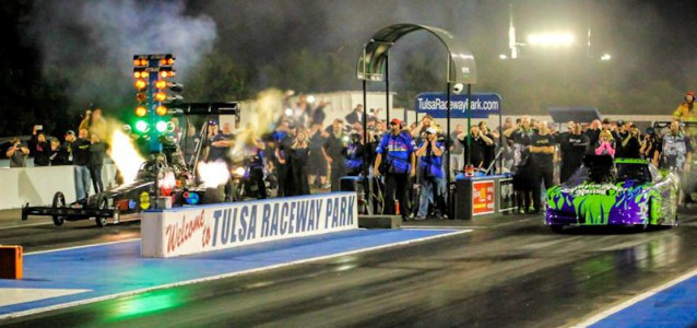 Scotty Palmer's Top Fuel Vs Frankie Taylor's Pro Mod at Throwdown in T-Town 2014